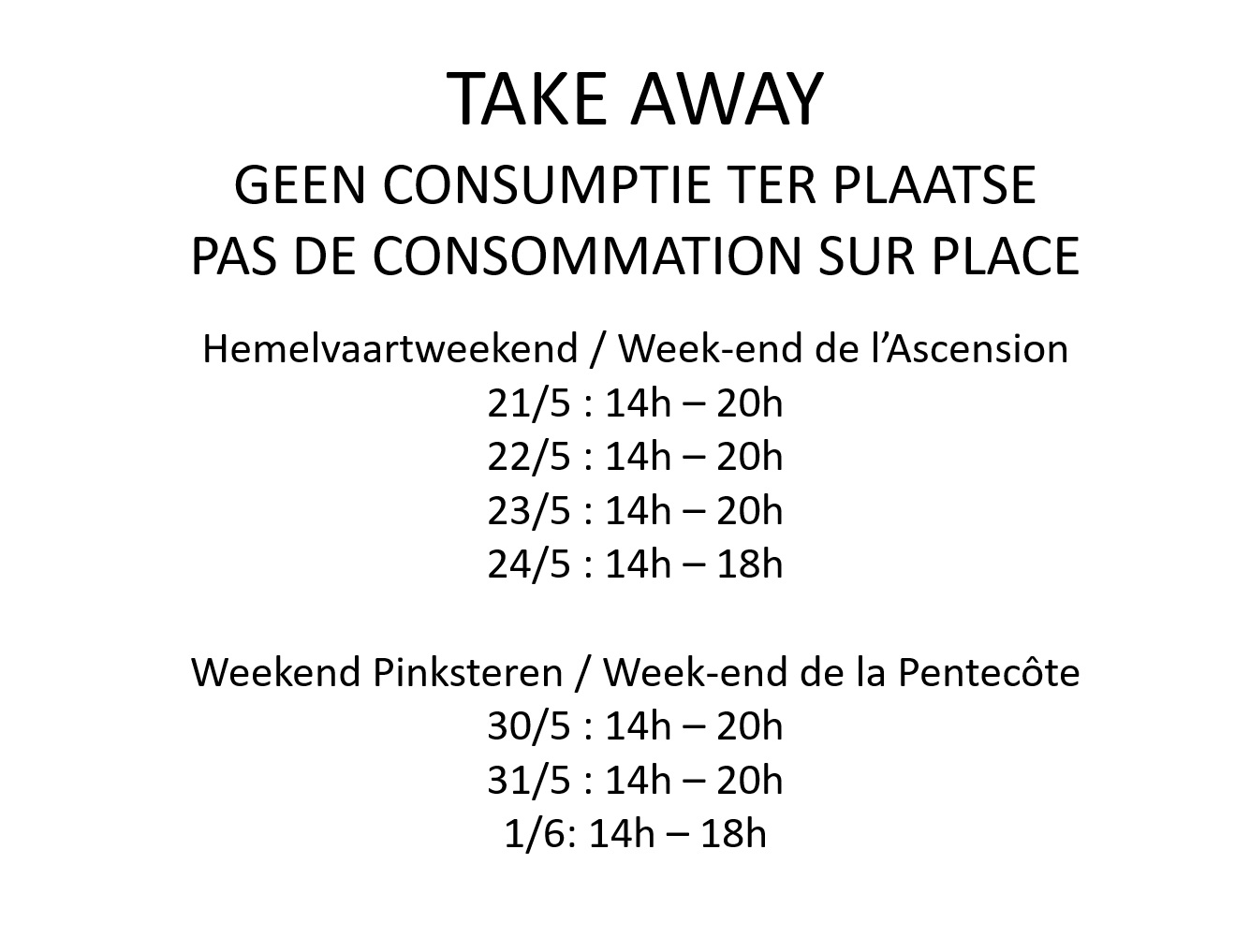 take away weekends